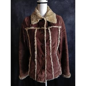 Wilson's Leather Maxima Brown Suede Sherpa Jacket